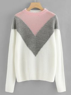7ebbea24f3cfc6 #ad Drop Shoulder Chevron Pullover. Price: $20.00. White Preppy Long Sleeve  Chevron