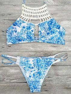 69c74e8dd6 Printed String Cut Out Bikini Set