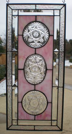 Pink Stained Glass Panel with Collectible Dishes and by VFSGlass, $90.00
