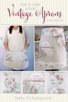 How to make altered vintage aprons with free patterns. Click now for tutorial or pin for later - Shabby Art Boutique Vintage Mom, Aprons Vintage, Vintage Sewing, Sewing Aprons, Sewing Clothes, Clothing Patterns, Sewing Patterns, Apron Patterns, Dress Patterns