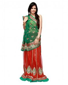 $168This charming new design is designed to bring out yours gorgeous side. Look perfect for a wedding occasion you attend. This lehenga style saree is designed with perfect Indian look. The lehenga is designed in panel with embroidery motif at bottom. Pallu has attractive fine paisley motifs, and border is enhanced with sequins, embroidery, and zari work.    Saree will come with an unstitched blouse  Color-Red and Green  Material- Net, Georgette and Raw silk  Work-Zari, Sequins and…
