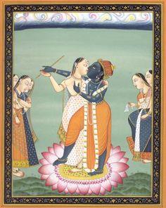 Radha Krishna in a Loving Embrace Miniature Painting On Paper Radha Krishna Pictures, Radha Krishna Love, Krishna Leela, Hare Krishna, Old Paintings, Indian Paintings, Indian Artist, Hindu Art, Indian Gods