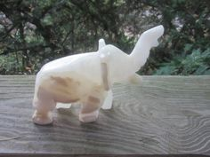 slag glass carved elephant figurine by 2manymiles on Etsy