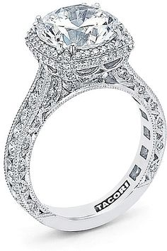 Tacori RoyalT Cushion Halo Diamond Engagement Ring HT2607RD