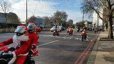 Santa's (not so) little helpers at Hyde park corner.  200 bikers in procession. #London www.bhctours.co.uk Hyde Park Corner, London Tours, Bikers, Street View