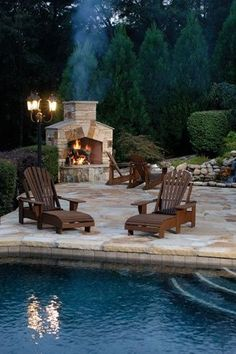 fireplace, patio and pool