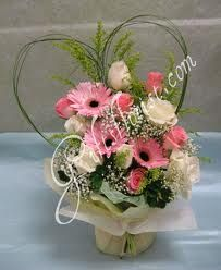 pink gerbera and white rose bouquet - Google Search