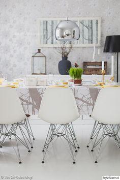 lankkupöytä,pääsiäinen,kattaus,pääsiäiskattaus,ruokahuone,ruokahuoneen sisustus,pääsiäiskoristeet,keittiö