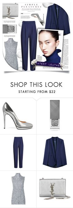 """""""Navy-Fo"""" by allaboutno ❤ liked on Polyvore featuring Casadei, Burberry, HUGO, WithChic, T By Alexander Wang and Yves Saint Laurent"""