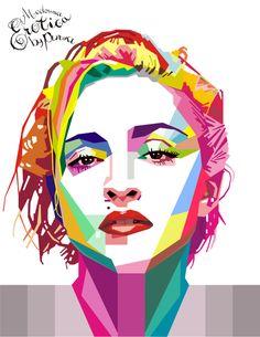 WPAP (Wedha's Pop Art Portrait) is a style of illustration portrait famous figure. Dominated from plane of flat color front, m. Pop Art Illustration, Portrait Illustration, Abstract Portrait, Portrait Art, Sketch Manga, Fantasy Magic, Madonna Art, Keramik Design, Art Watercolor