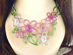 Mid Summer's Eve Bouquet Flower Bib Necklace door RefreshingDesigns