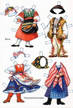 Czech paper dolls: Stjar and Vychodne Slovensko Paper Toys, Paper Crafts, History Of Paper, Paper Dolls Clothing, Costumes Around The World, Paper Dolls Printable, Thinking Day, Vintage Paper Dolls, Soft Dolls