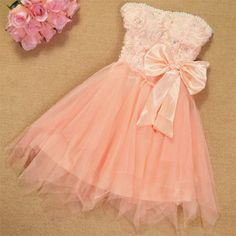 Beaded Bowknot Tulle Skirt Mesh Bustier Evening Dress $32.99  Color: Champagne
