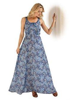 Peacock Print Maxi Dress | Plus Size Maxi Dresses | Roamans