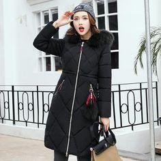 New 2017 Russia Style Fashion Winter Parka Women Large Fur Collar Coat