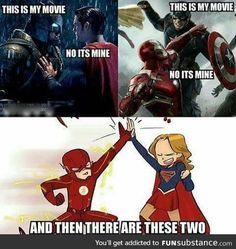 Flash and Supergirl know how to get along - Marvel Marvel Jokes, Funny Marvel Memes, Dc Memes, Funny Memes, Hilarious, Funny Girl Quotes, It's Funny, Marvel Versus Dc, Marvel Vs