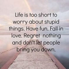 Life is too short to worry about stupid things. Have fun. Fall in love. Regret nothing and don't let people bring you down. - quote about happy life