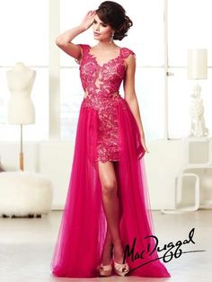 Mac Duggal Prom Dress - 61696M Trendy lace dress with short skirt and long skirt over it!  Low back and train.