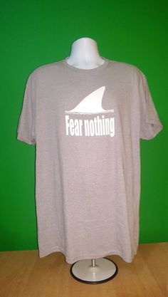 Shark Fear Nothing Men's XL T-Shirt 75% cotton Hanes Graphic Tee Short Sleeve #Hanes #GraphicTee