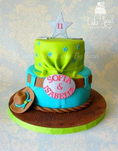 girly cowboy theme / aqua blue and lime green Cowgirl Cakes, Cowgirl Party, Cowgirl Birthday, Western Cakes, Cowboy Theme, Fancy Cakes, Cute Cakes, Beautiful Cakes, Amazing Cakes