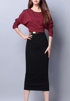 786ad9d13c Wine and Black Trendy Scoop Neck Batwing Sleeve Spliced Slimming Dress For  Women