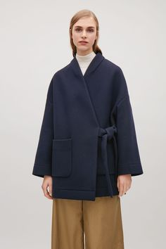 COS image 4 of Wool kimono coat with side tie in Navy