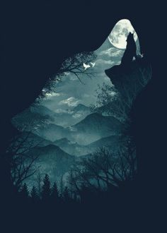 wolf nature forest werewolf trees mountains illustrations artsy