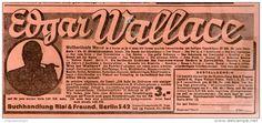 Original-Werbung/Inserat/ Anzeige 1928 -  EDGAR WALLACE WELTBERÜHMTE WERKE / BIAL & FREUND BRESLAU - ca. 90  x 180