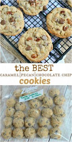 Caramel Pecan Chocolate Chip Cookies: my favorite cookie recipe! Chewy #recipe #cookies