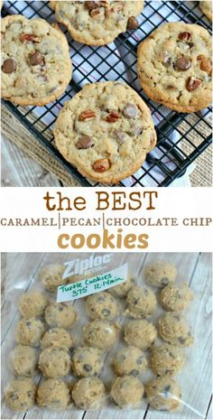 Caramel Pecan Chocolate Chip Cookies: my favorite cookie recipe! Chewy  #recipe #cookies