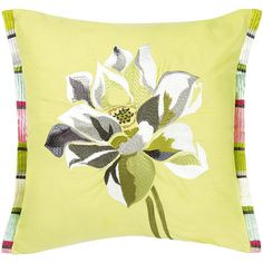 Designers Guild Nymphaea Cushion - 40x40cm ($67) ❤ liked on Polyvore featuring home, home decor, throw pillows, yellow, yellow throw pillows, yellow accent pillows, floral throw pillows, embroidered throw pillows and floral home decor