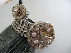 Steampunk Bracelet, Steampunk Cuff, Rinestones, Set, Ring, Steampunk Jewelry, Watch Parts, Gears, Gift Ideas, Neo Victorian on Etsy, $55.00