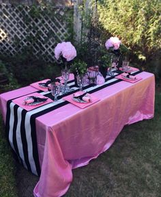 Pink and black Paris birthday party table! See more party ideas at CatchMyParty.com!