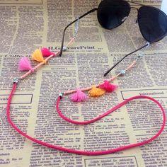 GL202 10PCS/Lot Free Shipping pretty girls eyewear accessories kids colorful tassel sunglass chain strap rope