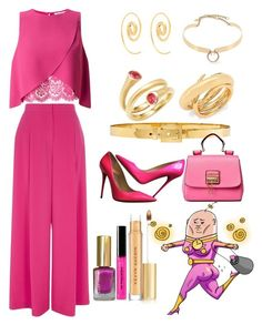 """Drawfee inspired outfit"" by just-a-dizzy-lizard ❤ liked on Polyvore featuring Jimmy Choo, Carelle, Noor Fares, Charlotte Chesnais, Alexander McQueen, River Island, Alexis Bittar, Miss Selfridge, Bobbi Brown Cosmetics and Kevyn Aucoin"