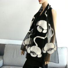 Nuno Felted Scarf merino wool silk floral Nuno felting shawl White flowers by MajorLaura on Etsy Nuno Felt Scarf, Wool Scarf, Felted Scarf, Recycled Dress, Silk Wool, Gorgeous Wedding Dress, Nuno Felting, Silk Scarves, Womens Scarves