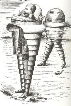 This 1880 magnificent non-steam-driven telescoping india-rubber screw, designed for the non-swimming beach-goer who wanted to get into the surf.  The whole was supposed to be waterproof, so that the wearer could put it on over evening clothing (as is the case in this illustration) and enjoy a spin in the surf before contemplating other Victorian nighttime gaities.