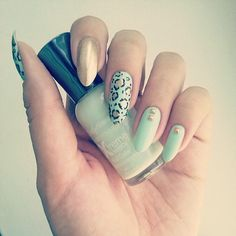 Seafoam and Gold Leopard Nails