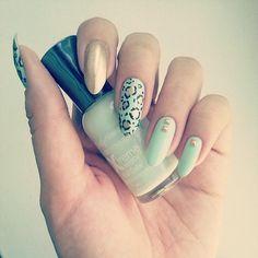 Seafoam and Gold Leopard Nails