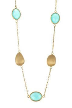 18K Gold Clad Mint Chalcedony Crystal & Satin Pebble Necklace by Rivka Friedman on @HauteLook