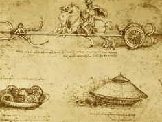 """Compared to our advanced technology that composes of robots, cars, planes, tanks, boats, etc, drawings of futuristic machines like the """"armored car"""" or """"tank"""" by Leonardo Da Vinci in the Reneissance come fairly close to our modern designs. Besides having an extraordinary imagination and somehow able to think up of these machines, Da Vinci revolutionized military technology at that time with his designs which inspire and interest people, even today."""