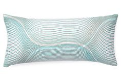 Slinky 7x15 Linen Pillow, Teal for back of chair