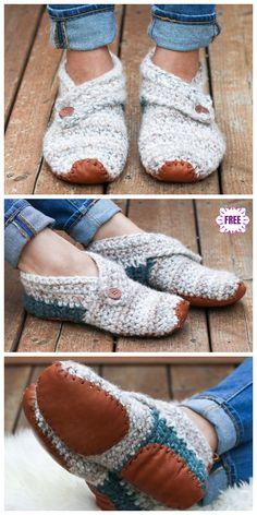 Crochet Gratis, Knit Crochet, Freeform Crochet, Crochet Simple, Confection Au Crochet, Shoe Pattern, Knitted Slippers, Crochet Slipper Boots, Slipper Socks