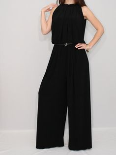 Black Women Jumpsuit Wide Leg Palazzo Pants