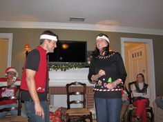 Our Christmas Party this year was an Ugly Christmas Sweater party with Minute to Win It games. The post detailing the first portion of the n. Christmas Math, Office Christmas, Christmas Party Games, Family Christmas, Holiday Fun, Christmas Holidays, Xmas Games, Holiday Ideas, Ugly Sweater Party