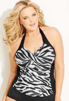 Plus Size Halter Zebra Foil Swimsuit Top Plus Size Bikini Bottoms, Women's Plus Size Swimwear, Curvy Swimwear, Trendy Swimwear, Swimwear Fashion, Tankini, Gizele Oliveira, Plus Sise, Curvy Bikini