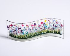 Handcrafted Fused Glass Art - Wild Garden Wave