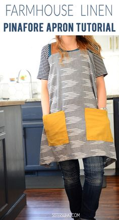 Fantastic Absolutely Free sewing tutorials free Tips Easy farmhouse pinafore apron tutorial JOANN Fabric and Craft Stores Easy Sewing Projects, Sewing Projects For Beginners, Sewing Hacks, Sewing Tutorials, Sewing Tips, Apron Pattern Free, Sewing Patterns Free, Free Sewing, Apron Patterns