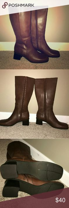 "Brown Riding Boots BNIB Naturalizer Gorgeous riding boots. *Reposh* Brown leather boot with 2 in block heel. Side zip. 14 1/4"" shaft and 15.5"" calf circumference with small side elastic insert. Perfect with jeans! 😍😍 Naturalizer Shoes Winter & Rain Boots"