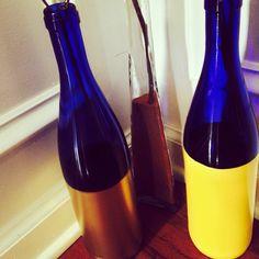 Wine bottle. Spray painted. February 2014.